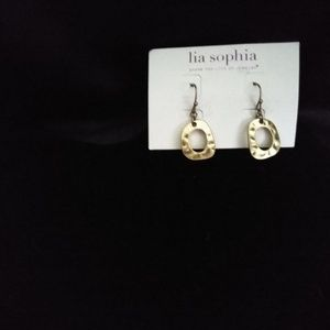 Lia Sophia Small Gold Hammered Oval Drops